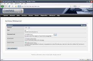 FreeNAS Services|Webserver configuration